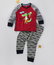 Lazy Shark Dinosaur Printed Nightwear Top & Bottom Set - Red & Grey