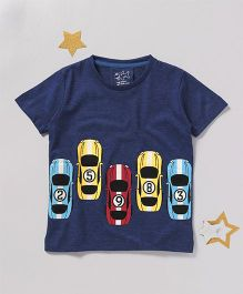 Lazy Shark Car Printed T-Shirt - Navy Blue