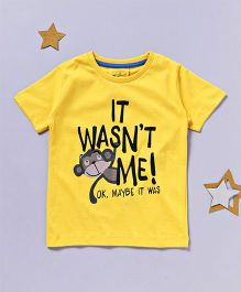 Lazy Shark It Wasn't Me Printed T-Shirt - Yellow