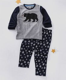 Lazy Shark Bearly Sleeping Printed Nightwear Top & Bottom Set - Grey & Black