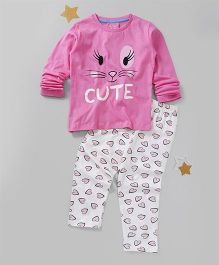 Lazy Shark Printed Nightwear Top & Bottom Set - Pink