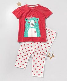 Lazy Shark Bear Printed Nightwear Top & Bottom Set - Red