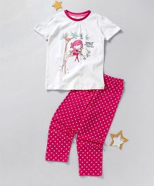 Lazy Shark Printed Nightwear Top & Bottom Set - White & Pink