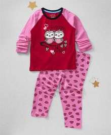 Lazy Shark Printed Nightwear Top & Bottom Set - Red & Pink