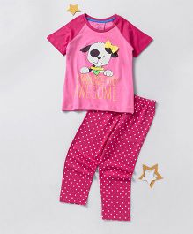 Lazy Shark Girls Cotton Printed Nightwear Top & Bottom Set Pink