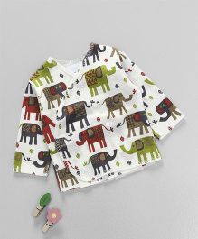 Dear Tiny Baby Long Sleeves Elephant Printed Shirt - Multicolor