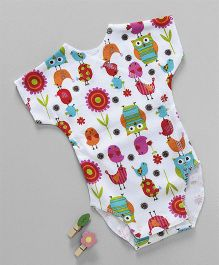 Dear Tiny Baby Crazy Bird Printed Onesie - White & Multicolor