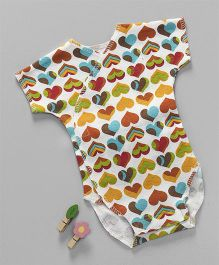 Dear Tiny Baby Heart Printed Onesie - White & Multicolor