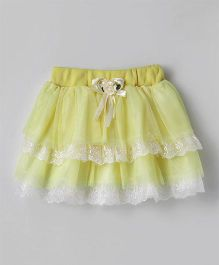 Eteenz Party Wear Layer Skirt Rose Applique - Lemon