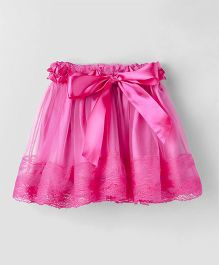 Eteenz Party Wear Net Skirt Ruffle Design - Fuchsia