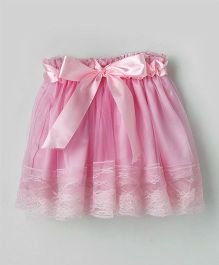 Eteenz Party Wear Net Skirt Ruffle Design - Pink