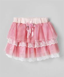 Eteenz Party Wear Layer Skirt Rose Applique - Pink
