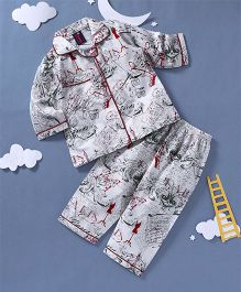 Enfance Core Eiffel Tower Print Night Suit - Off White
