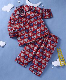 Enfance Core Heart Print Night Suit - Red
