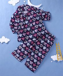 Enfance Core Heart Print Night Suit - Blue