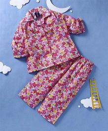Enfance Core Floral Print Night Suit - Pink