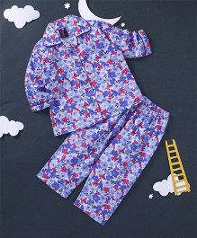 Enfance Core Floral Print Night Suit - Blue