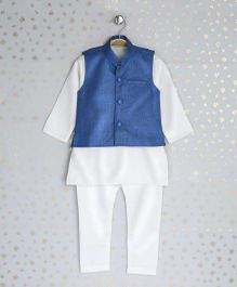 Enfance Kurta With Ethnic Jacket & Chudidaar - Blue & White