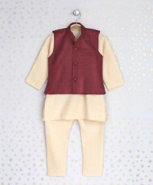 Enfance Kurta With Ethnic Jacket & Chudidaar - Maroon & Cream