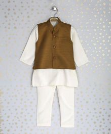 Enfance Kurta With Ethnic Jacket & Chudidaar - Brown & Off White