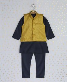 Enfance Kurta With Ethnic Jacket & Chudidaar - Yellow & Black