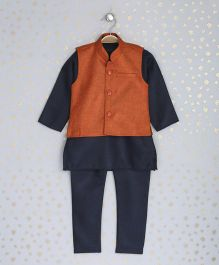 Enfance Kurta With Ethnic Jacket & Chudidaar - Orange & Black