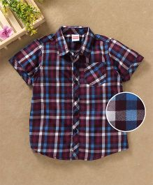 Babyhug Half Sleeves Checks Shirt With Pocket - Maroon
