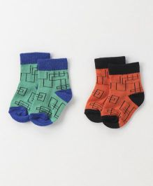 Cute Walk by Babyhug Anti Bacterial Ankle Length Geometrical Design Socks Pack of 2 - Green Orange