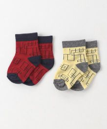 Cute Walk by Babyhug Anti Bacterial Ankle Length Geometrical Design Socks Pack of 2 - Red Yellow