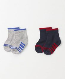 Cute Walk by Babyhug Anti Bacterial Ankle Length Designer Socks Pack of 2 - Grey Navy
