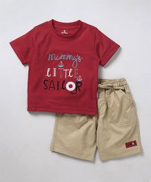 Child World Half Sleeves T-Shirt & Shorts Text Embroidery - Red Beige