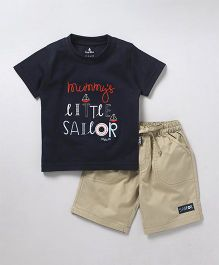 Child World Half Sleeves T-Shirt & Shorts Text Embroidery - Navy Blue Beige
