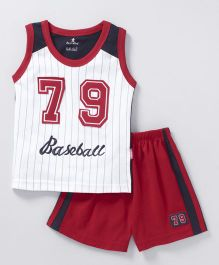 Child World Sleeveless T-Shirt With Shorts Baseball Embroidery - Red White
