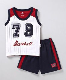 Child World Sleeveless T-Shirt With Shorts Baseball Embroidery - Navy Blue Red