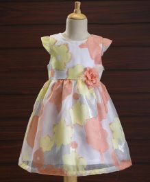 Yellow Duck Cap Sleeves Party Dress Flower & Feather Corsage - Peach