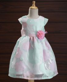 Yellow Duck Cap Sleeves Party Dress Floral Print - Blue Pink