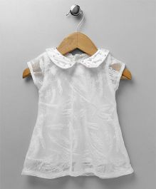 Yellow Duck Short Sleeves Party Dress Studded Collar - White