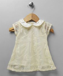 Yellow Duck Short Sleeves Party Dress Studded Collar - Light Yellow