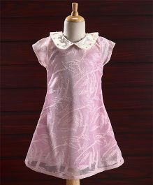 Yellow Duck Short Sleeves Party Dress Studded Collar - Light Pink