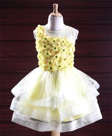 Yellow Duck Sleeveless Tired Party Dress Floral Corsage - Light Yellow
