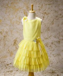 Yellow Duck Sleeveless Layered Dress Floral Corsage - Yellow