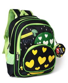 School Bag Heart Print Navy Green - 12.9 inches