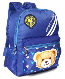 School Back Pack Teddy & Star Print Royal Blue - 12.79 Inches