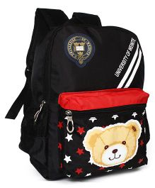 School Back Pack Teddy & Star Print Black - 12.79 Inches