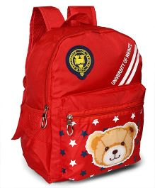 School Back Pack Teddy & Star Print Red - 12.79 Inches