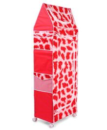 Luvely 5 Shelves Printed Storage Unit With Wheels - Red & White
