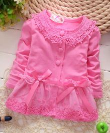 Pre Order - Tickles 4 U Full Sleeves Bow Dress - Dark Pink