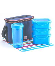 All Time 4 Piece Lunch Box Set With Glass & Insulated Bag - Blue