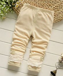 Pre Order - Awabox Leggings With Lace Details - Cream