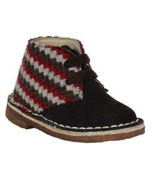 Teddy Toes Stitch Design Boys Boots - Brown